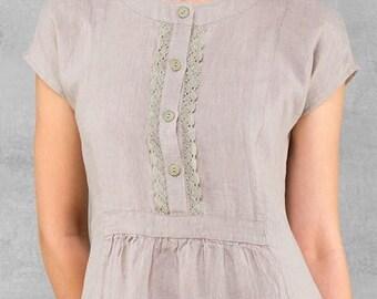 Linen women dress, Pure linen dress, Natural Grey dress, Eco Linen Dress, Linen clothing, linen clothes, Organic Linen Dress