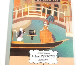 Soft Cover Mini Notebook-Floating Town-Kawaii characters-160 Pages