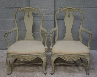 Vintage Pair of Painted Arm Chairs