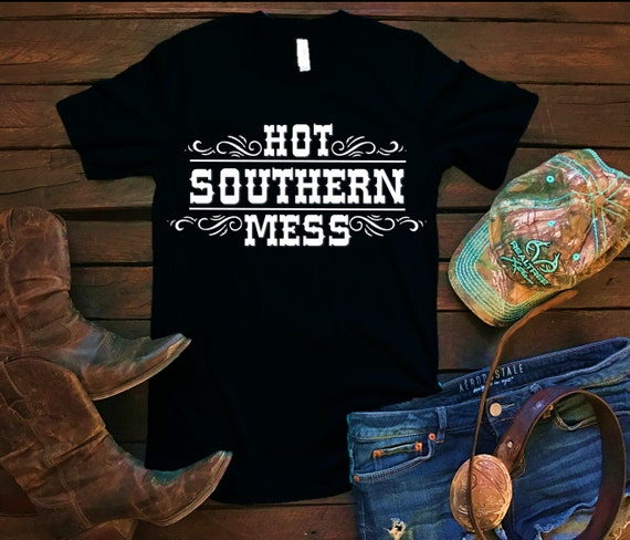 Hot Southern Mess Unisex T Shirt, Southern T Shirt, Country Shirt, Country Concert, Bar Shirt, Funny Shirt, Boutique Shirt, Silver Glitter