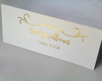 NOW FREE SHIPPING Gold Foil Wedding Table Place Tags for guests Wedding Name tags wedding place cards Custom