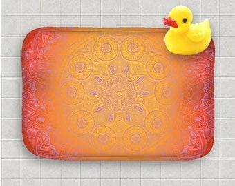 Bath Mat Purple Mandala Orange Yellow Zen India Indian Design Pattern Bath Rug Home Decor