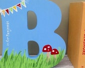 New Baby Gift Wooden Letter  Freestanding Personalised Cloud Design bunting design baby bunting name