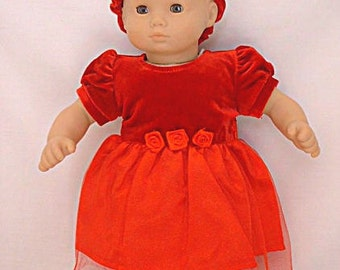 """Fits 15-16"""" American Girl Bitty Baby Christmas Dress and Standard 15-16"""" Sized Dolls"""