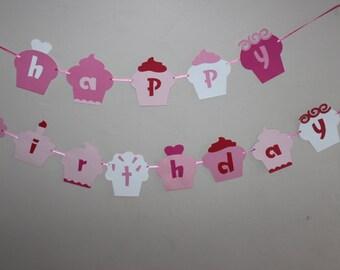 Cupcake Theme Birthday Banner, Cupcake Birthday Decor, Girly Birthday Party