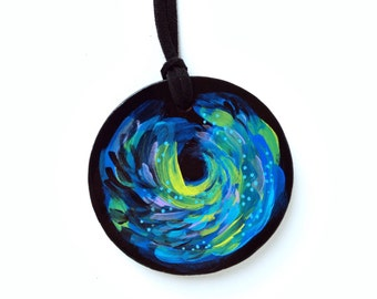 Hand Painted Wood Disk Necklace