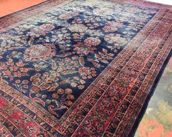 """Antique Persian Sarouk Rug 10'3"""" x 13'7"""" Blue Masterpiece c.1900"""
