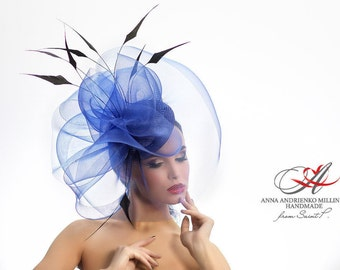 Blue Fashion Designers Fascinator veil hat, Melbourne Kentucky hat, Derby hat, Wedding quest hat, tea party hat, couture derby fascinator