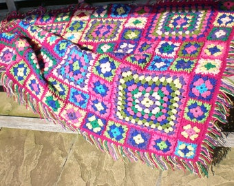 Fringed crocheted throw / knee rug / cot blanket