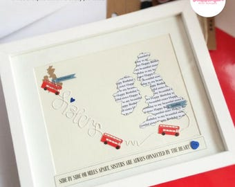 Personalised Sisters Framed gift/Map gift/London Buses/Travel Gift/Sister/London/Personalised frame/Word Art/Destination/Birthday