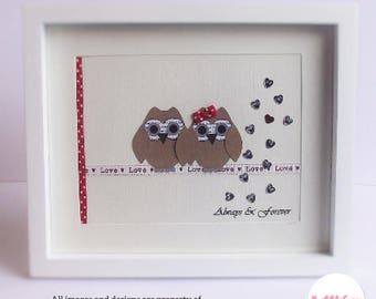 """Owl Gift Family Gift Owl Couple Personalised Keepsake Framed Housewarming Just because Word Art 10""""x8"""" Red Gift Idea Owl Family"""