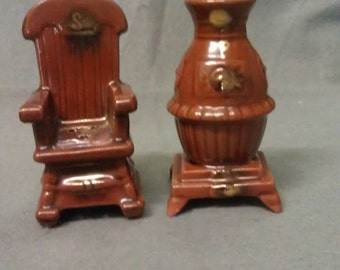 Brown with Gold Trim Chair and Heater-Stove Salt and Pepper Shaker Set