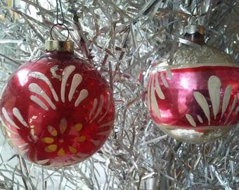 2 Vintage Mercury glass Christmas ornaments hand painted bulbs mid century 1950's decorations red pink silver flower Chippy rustic cottage