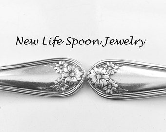 "Spoon Bracelet ""Daisy"" Handmade Valentine Gift Vintage Spoon Jewelry Fork Jewelry Recycled Silverware Spoon Ring Antique Bracelet-"