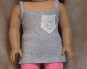 Gray Tank Top with Cream Lace Pocket ~ Handmade to fit like American Girl Doll Clothes, 18 inch doll clothes