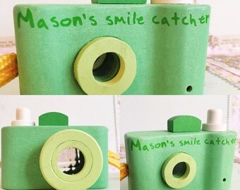 Wooden toy camera personalised gift