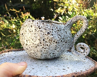 Textured white ceramic tea set