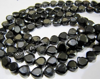 AAA Quality Black Spinel Heart Shape Beads , 5-6mm Size Faceted Beads , Strand 13 inch long, Semi Precious Fancy Shape Black Spinel Beads