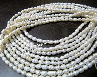 Natural Fresh Water Rice Pearl Beads , Size 5 to 7mm Long and approx 4mm wide Pearl Strand , White Rice Pearl Beads , Strand 13.5 inch long