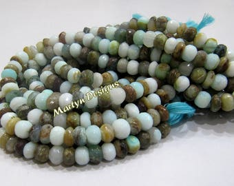 AAA Quality Natural Peruvian Opal Beads / Rondelle faceted Beads Size 7mm / Sold per Strand of 10 Inches Long/High Quality Opal Beads