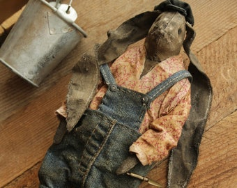 Simon grower gardener farmer rabbit stuffed rag doll art toys bunny strange
