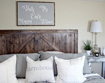 Large wood sign,bedroom sign, farmhouse sign,wedding signThis is Our Happy Place Large Wood framed sign