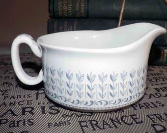 Mid-century (c. late 1950s) RARE! Alfred Clough Co | Grindley Melody blue-and-white pattern sauce or gravy boat.  Bone white ironstone.