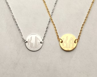Custom Engraved Necklace: Small Monogram Necklace, Necklaces for Women, Initial Pendant Necklace, Letter Necklace, Delicate Necklaces