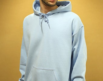 Baggy Oversized Soft Cotton Hoodie With Woven Label Detail in Light Blue Basic Staple Essential Streetwear RTS