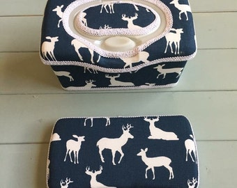 Set of 2 Deer, Wipe Case, Wipes Case, Baby Wipe Case, Baby Wipes Case, Wipes Holder, Travel Wipes Case, Diaper Bag, Baby Gift, Baby Shower
