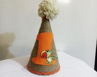 timon birthday hat/ zebra birthday hat/ giraffe birthday hat/ parrot birthday hat/ burlap birthday hat/ 1st birthday hat/ i am 1 hat