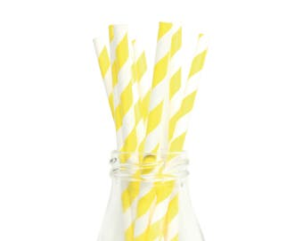 25 Striped Paper Straws, White and Yellow Striped Straws, Wedding Paper Straws, Baby Shower Straws, Yellow Party Straws, Birthday Straws.