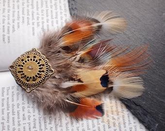 Gold Cog Pheasant Feather Steampunk Hair Clip, Gold Mandala Boho Hair Accessory. Alternative Wedding Clip. Tribal, Hipster, Bohemian Hair.