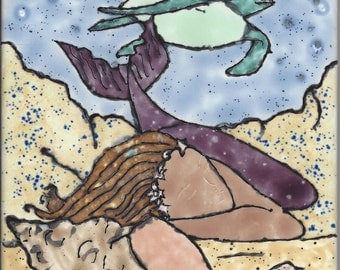 Mermaid Daydream 2 Hand Painted Kiln Fired Decorative Ceramic Wall Art Tile 6 x 6