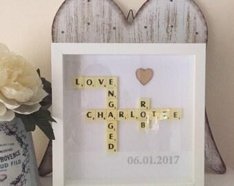 Scrabble Wedding frame  scrabble wall Art Picture box Frame