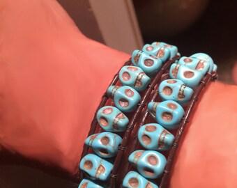 Skull Jewelry, Wrap Bracelet, Skull Wrap Bracelet,Skulls Gift for Her,Goth Jewlery,Skull Stone Bracelet,Turquoise Bracelet, Boho Style