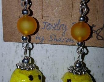 Lampwork Chick Fish Hook Earrings