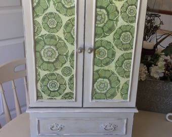 Painted Wooden Jewelry Armoire / Upcycled Shabby Chic Jewelry Box / OOAK Designer Decoupaged Jewelry Wardrobe