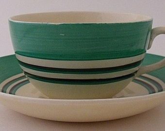 Clarice Cliff Bizarre Cup And Saucer Duo With Banded Striped Design