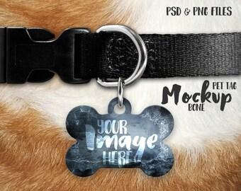 Bone shaped pet tag template mockup   Bone dog tag template   Photoshop and PNG   Pet ID tag template