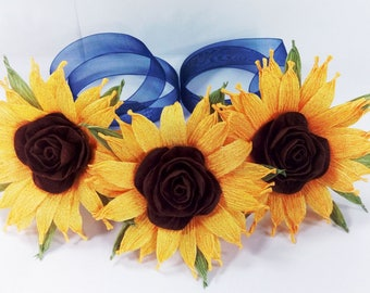 Sunflower paper garland hair Headband Flowers Crown Barn Wedding rustic Headpiece Hair Wreath Boho Bridal sunflowers blue ribbon girl halo