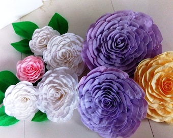 8 large Paper Flowers backdrop wall moana nursery decor Giant flowers White pink lavander  leaves bridal baby shower wedding wall Cake Table