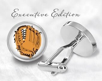 Baseball Glove Cufflinks - Baseball Cuff Links - Ball Player Cufflink Baseball Wedding Cufflinks (Pair) Lifetime Guarantee (S0439)