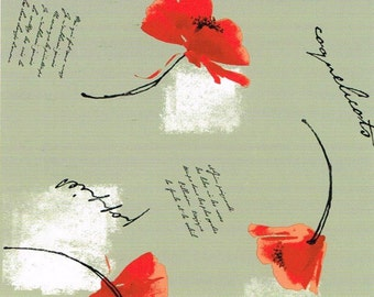 Oilcloth table cloth by the metre B9010-02 poppy 160 cm width
