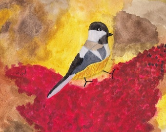 Chickadee with Red Berries