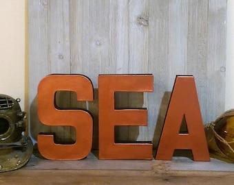 Sea Block Letters Copper - Black