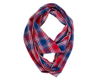 Plaid Scarf, Fashion Boho Scarf, 4th Of July Scarf, Scarves, Eternity Scarf, Circle Scarves, Boho Scarf, Circle Scarf, Loop Scarf