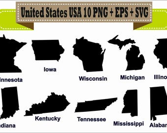 America United States USA State Map Indiana Silhouette Vector Clipart PNG EPS Digital Files Scrapbook Supplies Clip Art Instant Download