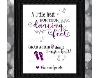 Instant Download, Digital Download, Printable Wedding Sign, Flip Flop, Dancing Sign, 8x10, File, Dancing Feet, Purple, Reception Sign