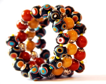 Bracelet memory wire Wrap bangle bracelet Multi wrap bracelet Bangle wire bracelet Beaded bracelet Bohemian jewelry Black Orange Yellow
